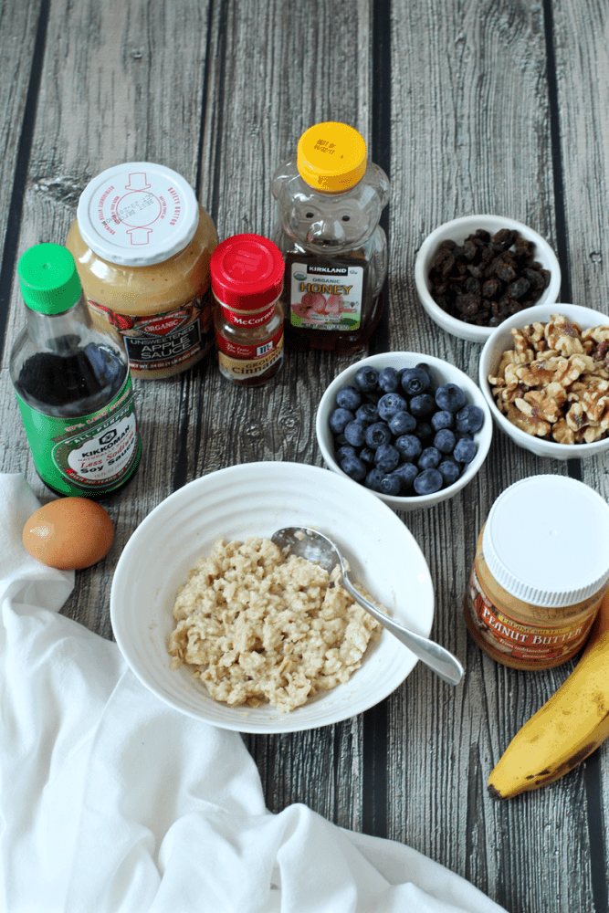 Quick and easy microwave oatmeal with a variety of toppings