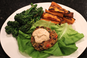 Fiesta black bean burger dinner wrap