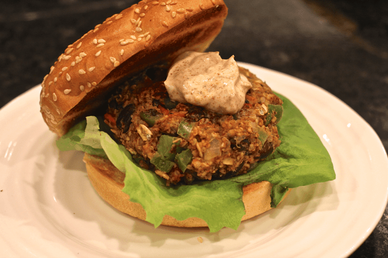 Fiesta black bean burger with yogurt sauce