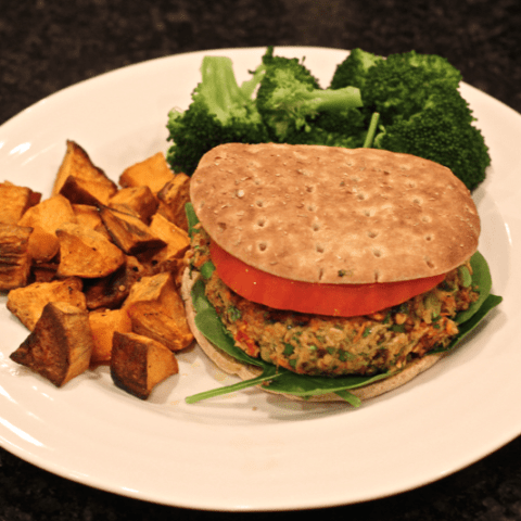 veggie burger dinner