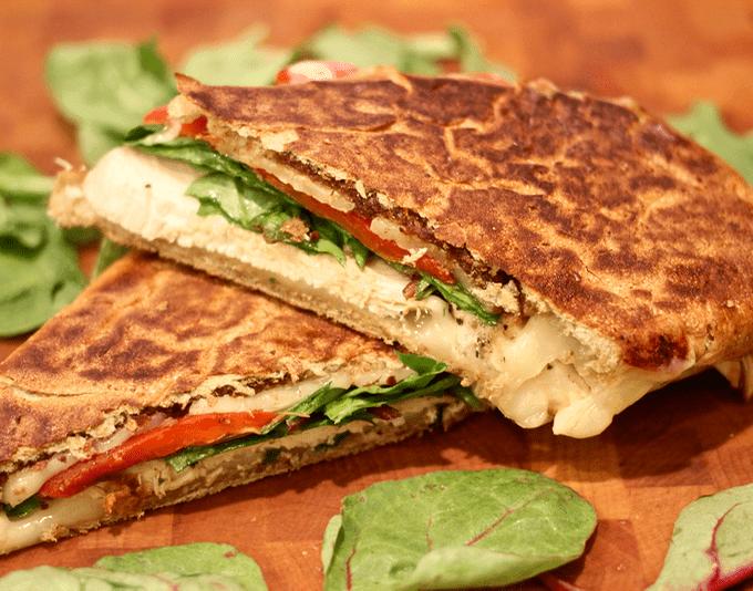 Grilled chicken and mozzarella panini