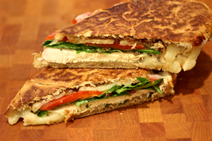 Grilled chicken and mozzarella panini