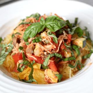 Summer chicken and veggie spaghetti - lighter, fresh and full of veggies | FamilyFoodontheTable.com