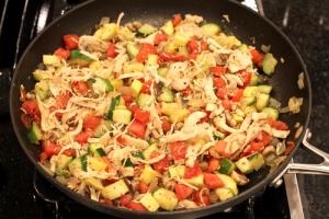 Summer chicken and veggie spaghetti