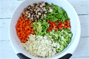 Asian chicken chopped salad veggies