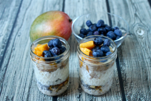 Blueberry mango overnight oatmeal jars | Family Food on the Table