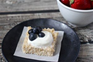 Blueberry yogurt oatmeal square | FamilyFoodontheTable.com