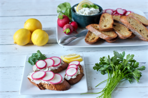 Cheese-herb spread with baguette and radishes - an easy appetizer | FamilyFoodontheTable.com
