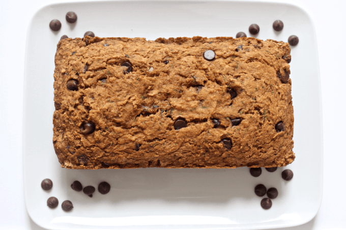 Chocolate chip zucchini bread - an easy, whole wheat, chocolate-studded zucchini bread that's great for a healthy snack or treat (or even breakfast!) | www.familyfoodonthetable.com