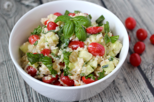 Cool rice salad with creamy yogurt dressing
