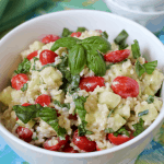 Cool rice salad with creamy yogurt dressing