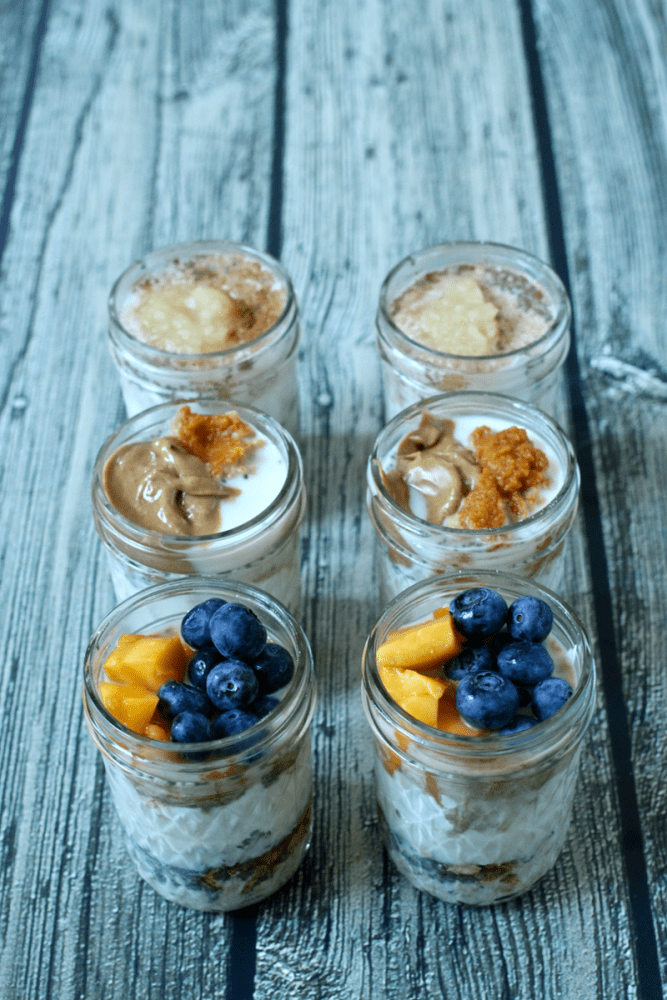 Overnight oatmeal jars are an easy, healthy, make-ahead breakfast. Get this base recipe and ideas for delicious flavor combinations! #oatmeal #breakfast #makeahead