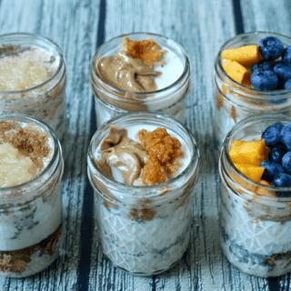 Overnight oatmeal jars, 3 ways
