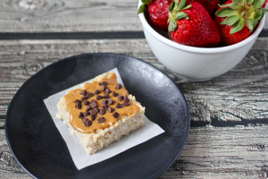 Peanut butter chocolate chip oatmeal square | FamilyFoodontheTable.com