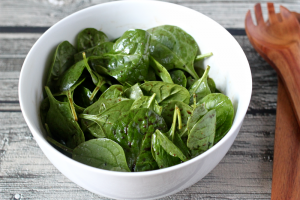 Simple spinach salad with homemade balsamic vinaigrette