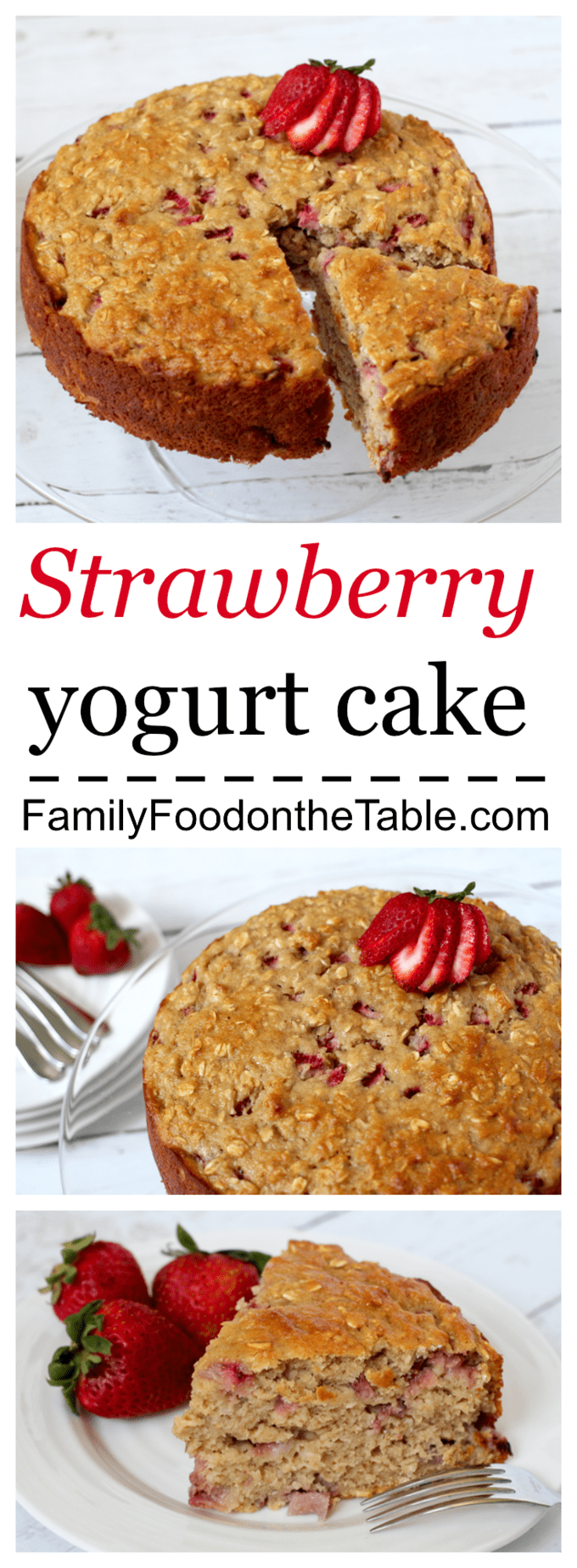 Healthy strawberry yogurt cake - no oil or butter!