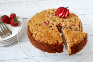 Strawberry yogurt cake - fresh and healthy (no butter or oil!) | FamilyFoodontheTable.com