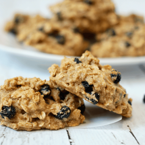 Blueberry oat cookies - whole grain, naturally sweetened snack cookies! | FamilyFoodontheTable.com