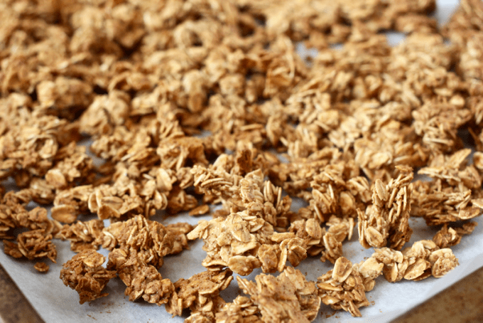Close up of 5-ingredient homemade granola on a baking sheet