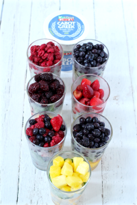 Greek yogurt and fruit mixes