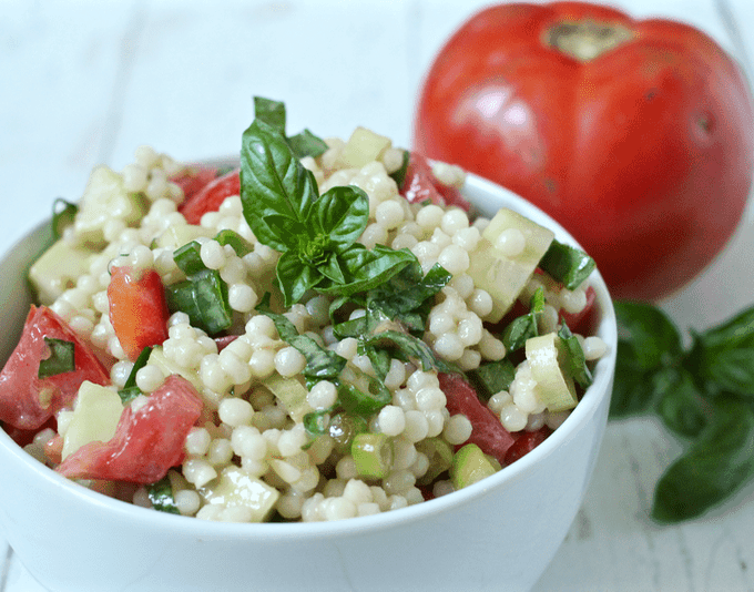 Israeli couscous veggie salad | FamilyFoodontheTable.com