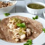 Mahi-mahi fish tacos with salsa verde