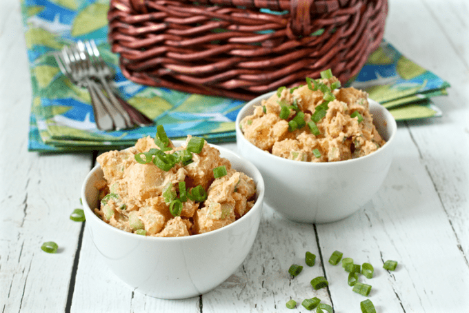 Perfectly creamy and healthier potato salad is lightened up with half mayo and half Greek yogurt. It's perfect for BBQ parties, picnics, cookouts and potlucks all summer long!