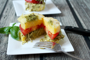 Pesto chicken polenta stacks | FamilyFoodontheTable.com