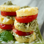 Pesto chicken polenta stacks