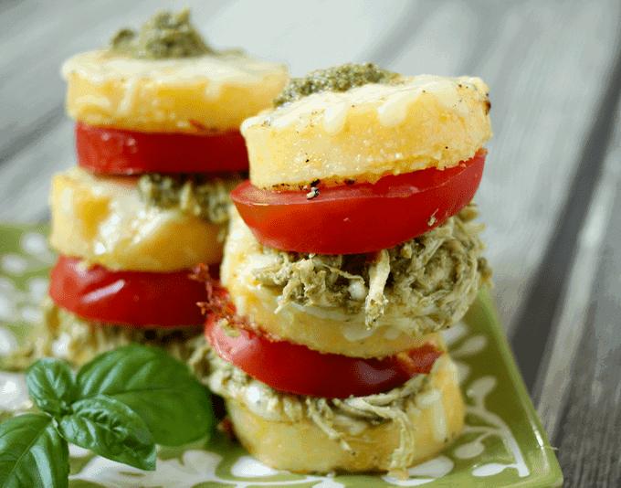 Pesto chicken polenta stacks | FamilyFoodontheTable.com