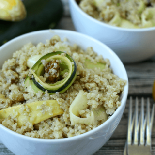Quinoa and squash ribbon salad