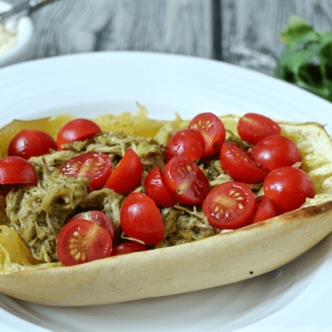 Spaghetti squash with pesto chicken and tomatoes - an easy, 4-ingredient dinner | FamilyFoodontheTable.com
