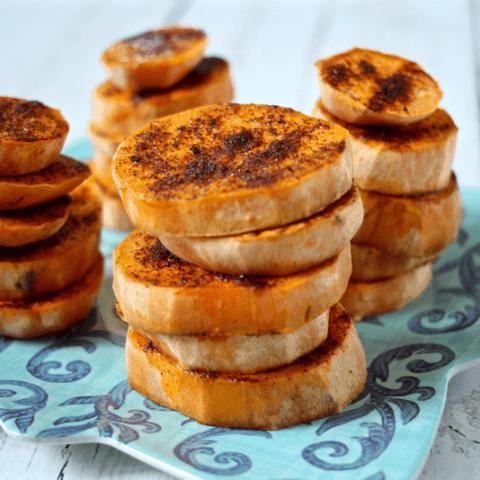 Spicy sweet potato rounds | FamilyFoodontheTable.com