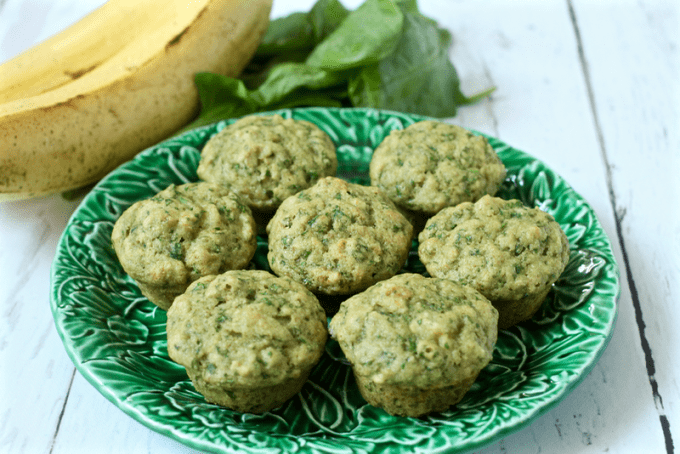 Mini spinach muffins with banana are a wholesome, sweet snack or lunch - a kid favorite!