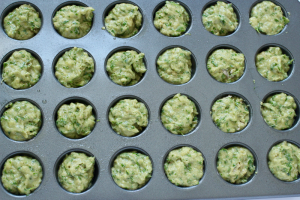 Spinach banana mini muffins pre-bake