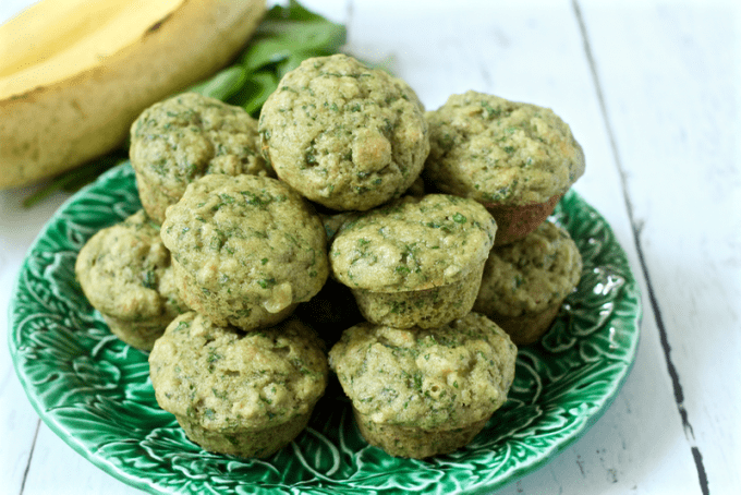Spinach banana mini muffins