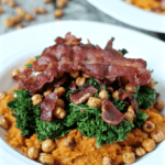 Sweet potato, roasted chick peas, kale and bacon bowls