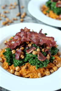 Sweet potato bowl with crispy chick peas, kale and bacon | FamilyFoodontheTable.com