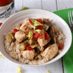 Cajun chicken stew with okra and tomatoes