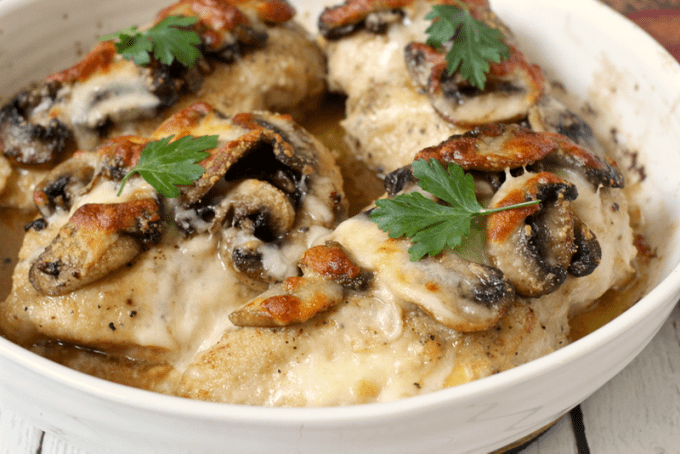 Chicken breasts Lombardy - a delicious Italian chicken with cheese, mushrooms, Marsala wine! | FamilyFoodontheTable.com