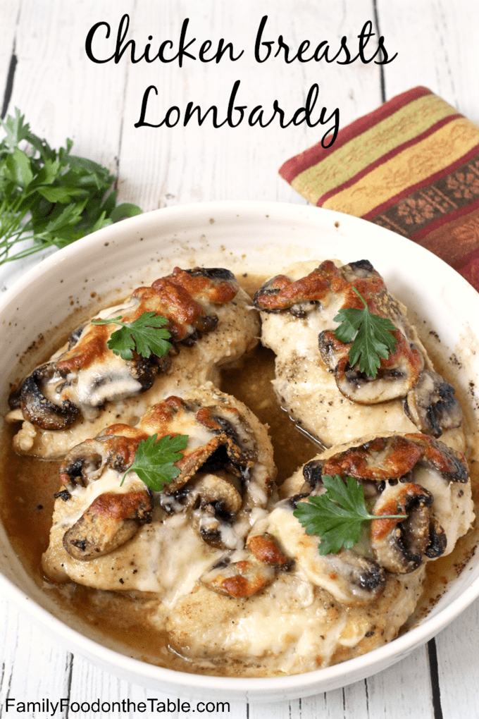 Chicken breasts Lombardy is a delicious Italian chicken dinner with cheese, mushrooms and a Marsala wine sauce. #chickenrecipes #chickendinner #dinnerideas