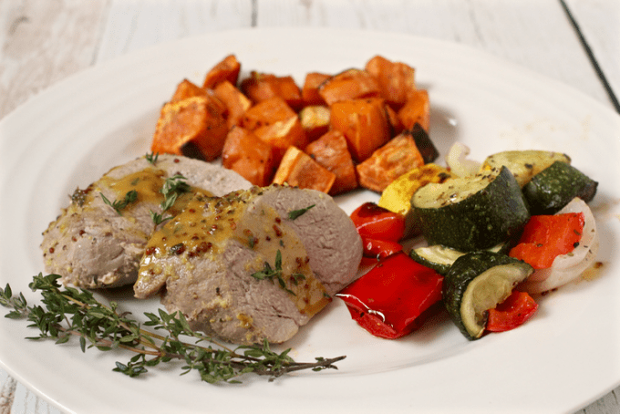 Maple mustard pork tenderloin dinner | FamilyFoodontheTable.com