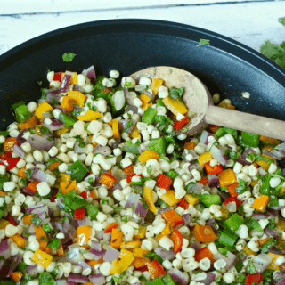 Quick corn and peppers saute - an easy, colorful 10-minute side | FamilyFoodontheTable.com