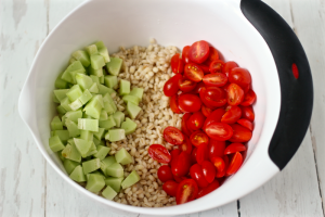 Barley salad with tomatoes and cucumbers | FamilyFoodontheTable.com