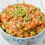 Brown rice edamame salad with carrots