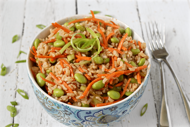 Brown rice edamame salad with carrots and a homemade soy ginger dressing | FamilyFoodontheTable.com
