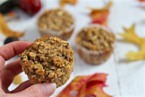 Harvest zucchini muffins are full of goodness with oats, banana, applesauce and zucchini! | FamilyFoodontheTable.com