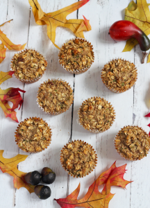Healthy harvest zucchini muffins are made with oats, banana, applesauce and zucchini! | FamilyFoodontheTable.com