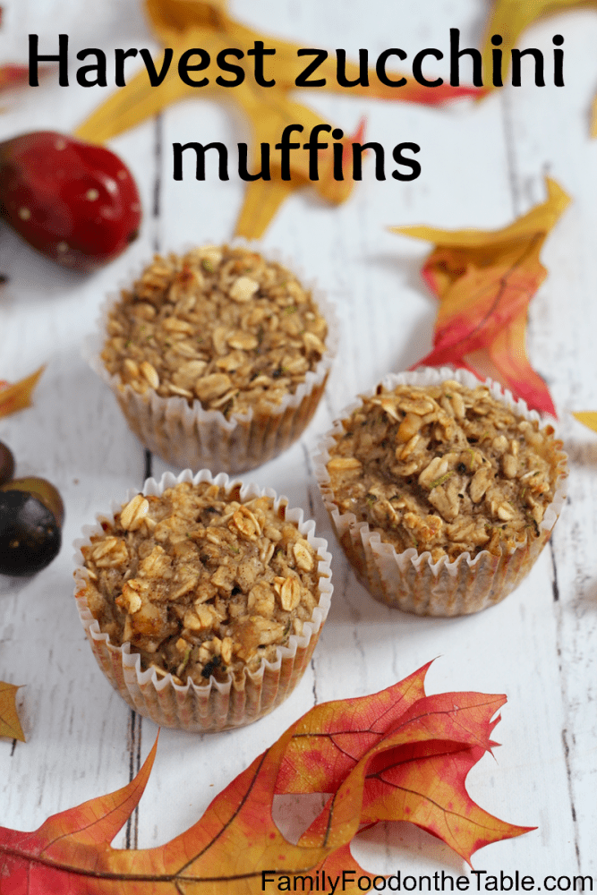 These healthy gluten-free zucchini muffins are full of goodness with oats, banana, applesauce and zucchini! | FamilyFoodontheTable.com