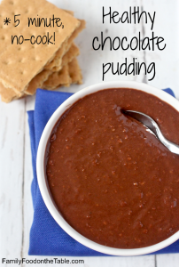 Healthy chocolate pudding - a 5-minute, no cook homemade pudding! (Also vegan, dairy-free, gluten free and naturally sweetened!) | FamilyFoodontheTable.com